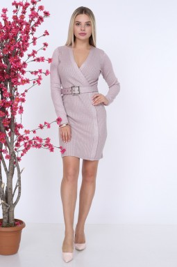 Belted Powder Color Knitwear Dress