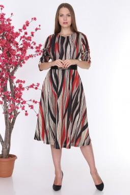 Red Striped Glitter Knitwear Dress