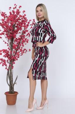 Red Line Patterned Knitwear Set