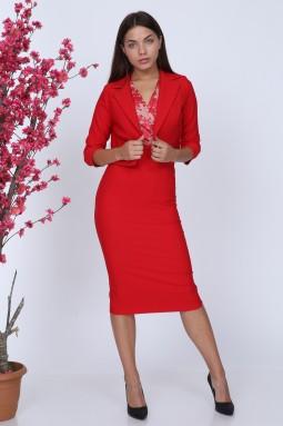 Lace Jacket Red Color Suit