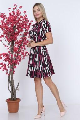 Line Patterned Red Color Knitwear Dress
