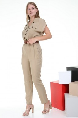 Beige Color Jumpsuit with Short Sleeve Buttons
