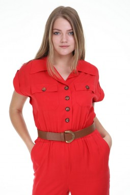 Red Color Jumpsuit with Short Sleeve Buttons