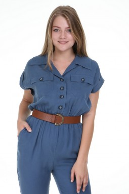 Blue Color Jumpsuit with Short Sleeve Buttons