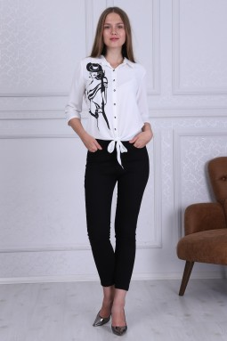 Girl Patterned Wh Color Blouse