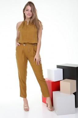 Sleeveless Mustard Color Jumpsuit