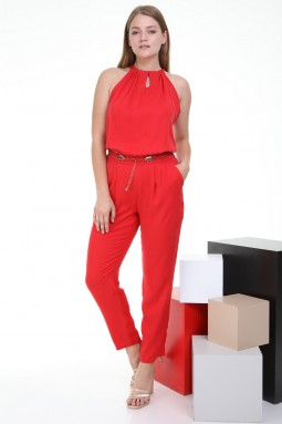 Sleeveless Red Color Jumpsuit