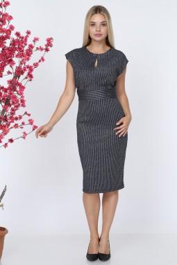 Sleeveless Dark Blue Knitwear Dress