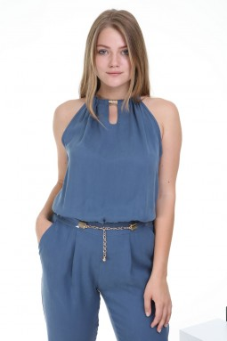 Sleeveless Blue Color Jumpsuit