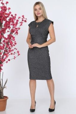 Sleeveless Black Knitwear Dress