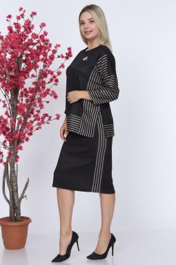 Arm Striped Black Color Suit