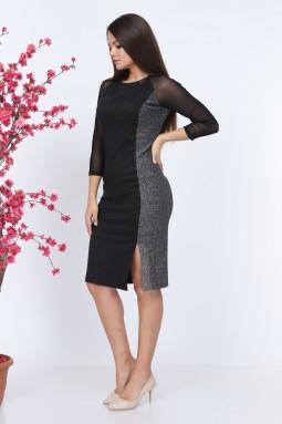 Black Sleeve Tulle Knitwear Dress