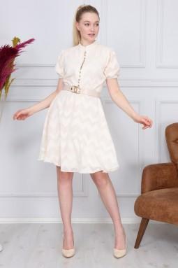 Cream Zigzag Pattern Dress