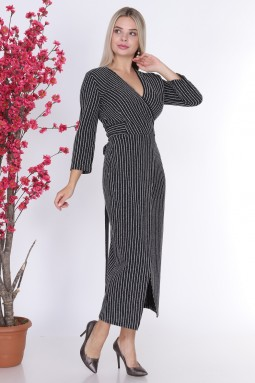 Double Breasted Striped Black Color Dress