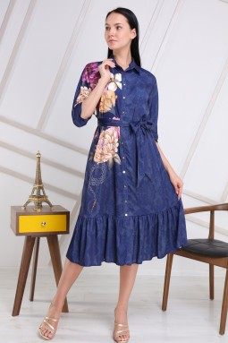 Navy Blue Floral Pattern Dress