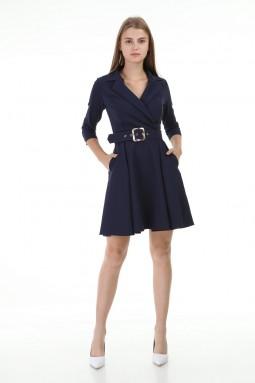 Navy Blue Short Pleated Dress