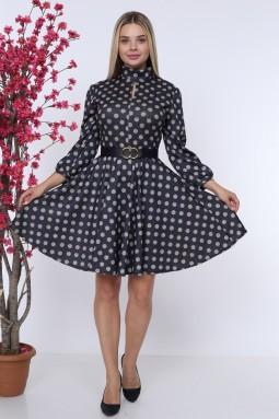 Navy Blue Polka Dot Belted Dress
