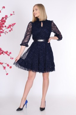 Silvery Dark Blue Color Tulle Dress