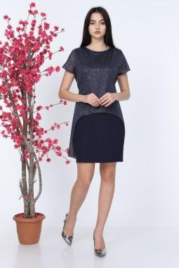 Navy Blue Silvery Short Sleeve Tulle Dress