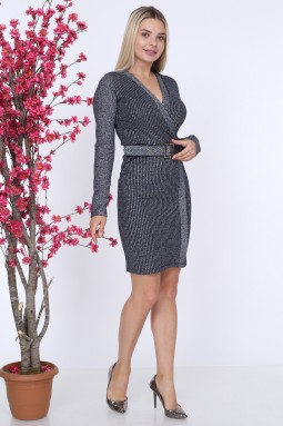 Belted Dark Blue Color Knitwear Dress