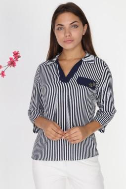 Navy Blue Striped Collar Blouse