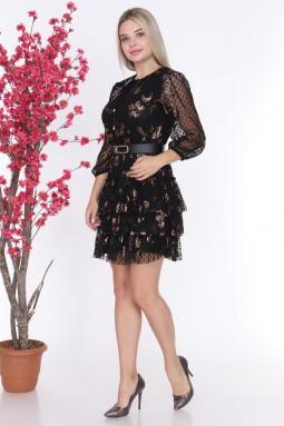 Polka Dot Leopard Pattern Detailed Dress