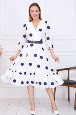 Navy Blue Polka Dot French Dress