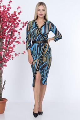 Blue Ribbed Patterned Dress