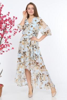 Blue Ruffle Patterned Dress