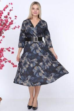 Violet Patterned Navy Blue Dress