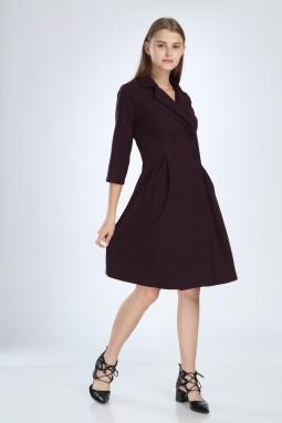Purple Pleated Dress