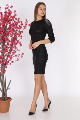 Black Dress with Stones on the Shoulder