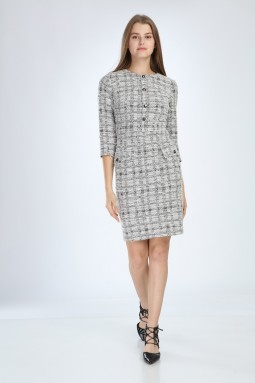 Knitted Fabric White Dress