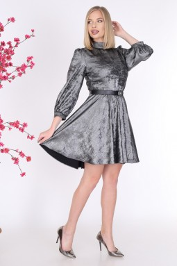 Shiny Silver Color Dress
