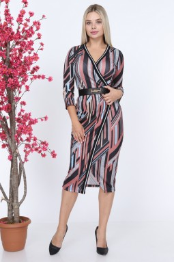 Powder Ribbed Patterned Dress