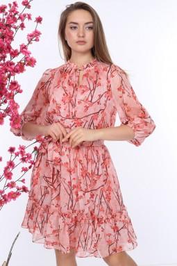 Pink Belted Patterned Dress