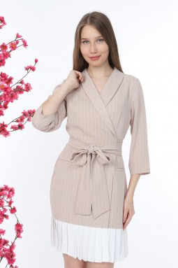 Pleated Striped Beige Dress