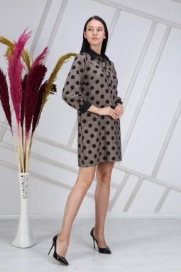 Polka Dot Collar Beige Dress