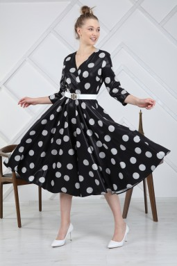 Polka Dot Black Dress