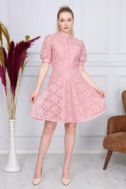 Powder Color Lace Dress