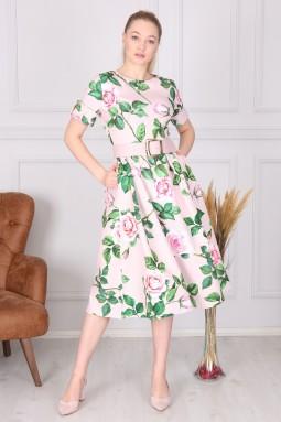 Powder Floral Pattern Dress