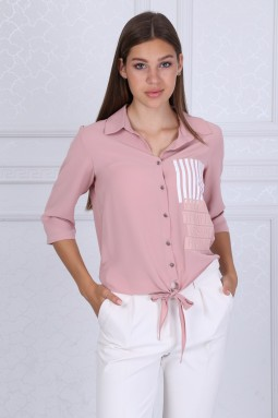 Collar Buttoned Powder Blouse