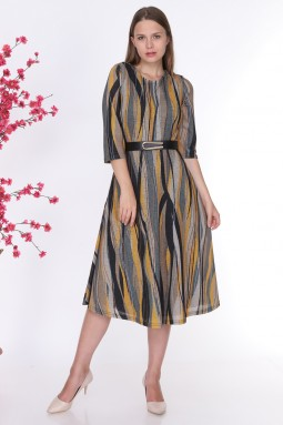 Yellow Striped Glitter Knitwear Dress