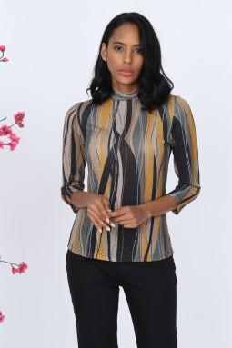 Yellow Striped Glitter Knitwear Blouse