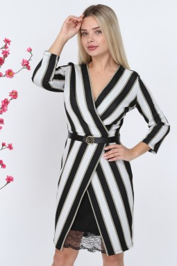 Silvery Striped Lace Knitwear Dress