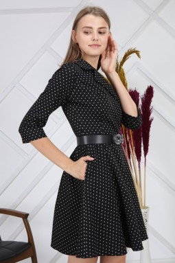 Silvery Round Patterned Black Dress