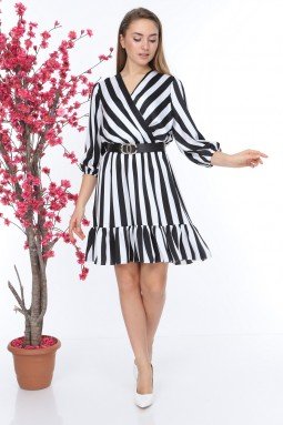 Black and White Striped Double Breasted Dress