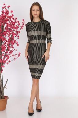 Black Striped Knitwear Dress