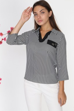 Black Striped Collar Blouse