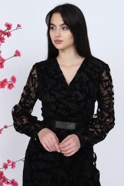 Flocked Black Dress
